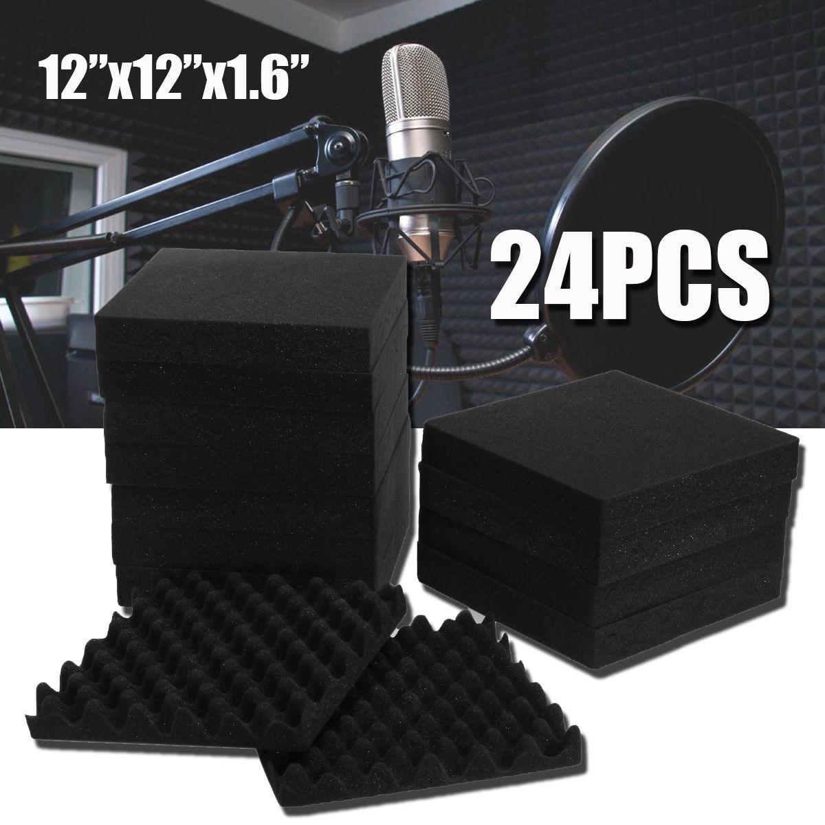 24Pcs 300x300x40mm Soundproofing Foam Studio Acoustic Foam Soundproof Absorption Treatment Panel Tile Wedge Polyurethane Fo