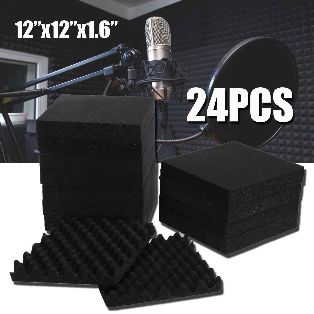 24Pcs 300x300x40mm Soundproofing Foam Studio Acoustic Foam Soundproof Absorption Treatment Panel Tile Wedge Polyurethane Fo