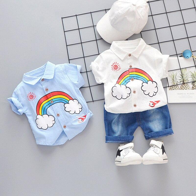 Summer Children Boys Girls Cotton Clothing Sets Baby Cartoon Rainbow T Shirt Denim Shorts 2pcs/Sets Fashion Kid Casual Tracksuit