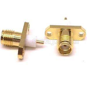 Image 3 - 100 قطعة/الوحدة RF موصل محوري SMA الإناث لوحة جبل 2 ثقوب شفة سطح اللحيم RF موصل