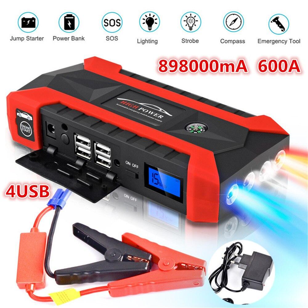 89800 mAh haute puissance voiture saut démarreur 12 V 4USB Portable démarrage dispositif batterie externe chargeur de voiture pour voiture batterie Booster Buster