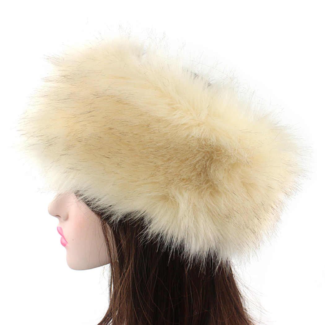 ... Russia Style Fox Fur Hat For Women Faux Fluffy Headband Russian Winter  Thick Warm Ears Fashion ... 79134d94114