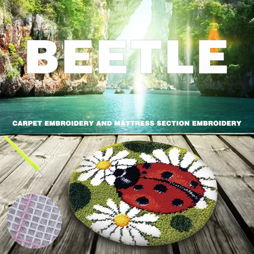 Ladybug Latch Hook Craft Kits with Canvas Rug Making Everything included