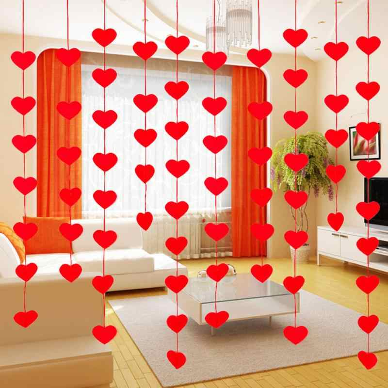 20Pcs/pack Heart Garland Curtain DIY Curtain Non Woven Fabric Red for Valentine's Day for Bedroom, Window, Door Decor #2