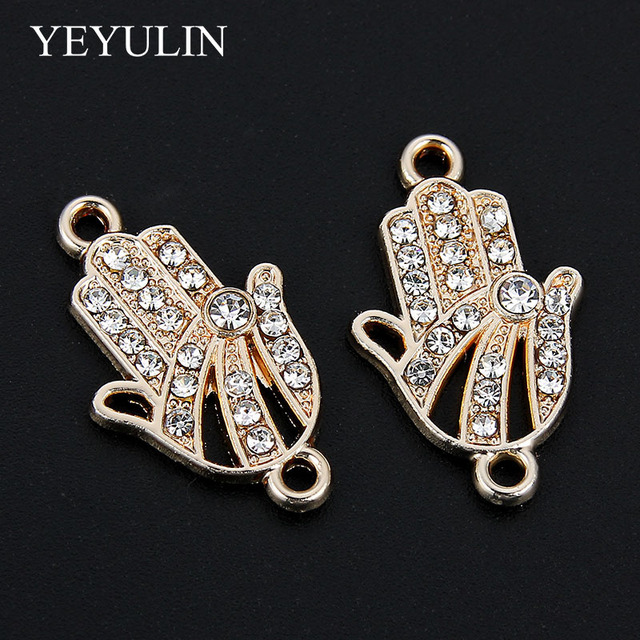 10 Pcs Crystal Hand Pattern Alloy Connectors Bracelet Charms For DIY Fashion Jewelry Making Necklace Pendant 1.4*2.2cm