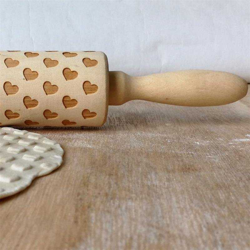 Us 709 32 Offwooden Valentines Day Love Rolling Pin Wooden Engraving Embossed Rolling Pin Cookie Sticks In Rolling Pins Pastry Boards From Home