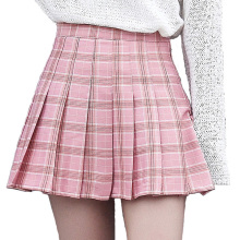 Women Summer High Waist Pleated Skirt Wind Cosplay Plaid Mini A Line Skirt Kawaii Female Skirts
