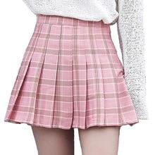 Women Summer High Waist Pleated Skirt Wind Cosplay Plaid Mini A Line Kawaii Female Skirts