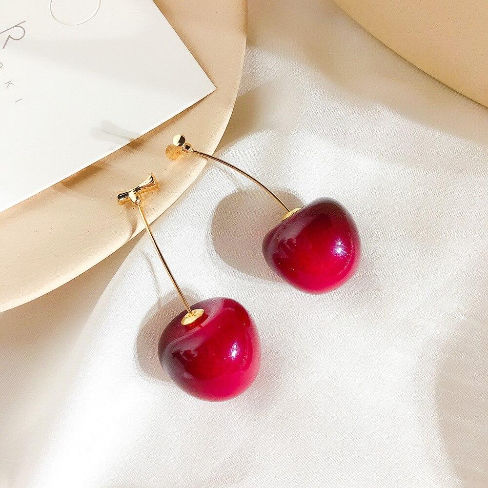 New Resin Cute/romantic Round Women Dangle Earrings Red Cherry Fruit Bohemian For Drops