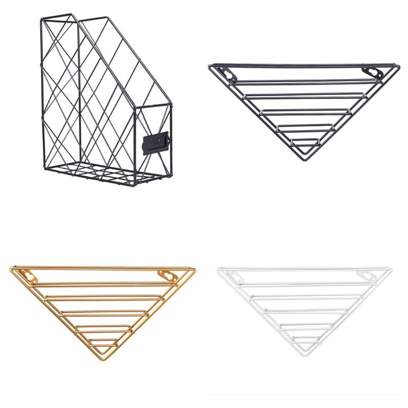 Bathroom Shelves Home Improvement Reliable 1pc Metal Basket Wall-mounted Nordic Ins File Book Rack Newspaper Magazine Rack Display Stand Holder Shelf Storage Container