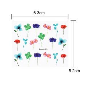Image 5 - LEMOOC tırnak transferi çıkartmalar renkli çiçekler kelebek su çıkartmaları DIY İpuçları karışık desenler Nail Art Sticker dekorasyon