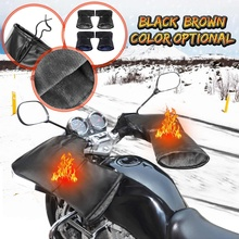 Пара кожаных мотоциклетных перчаток для руля скутера, водонепроницаемые перчатки с ручкой для велосипеда, меховые муфты для рук, перчатки, зимние теплые перчатки