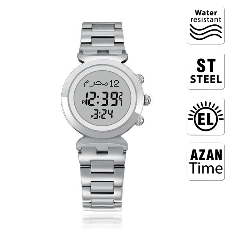 Watches Temperate Lady Harameen Watch With Qibla Direction 6331 27mm Stainless Steel 3bar Waterproof Female Azan Watch For Muslim Prayer Paper Box