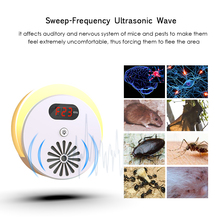 Ultrasonic Pest Repeller Electronic Mosquito Mouse Killer Bug Rat Spider Cockroach Insect Repellent with LCD Display AC110~240V