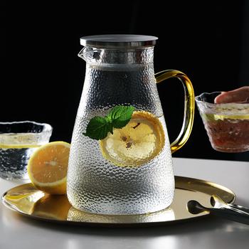 Szklany dzbanek na wodę szklany dzbanek dzbanek na wodę z uchwytem dzbanek na gorącą zimną wodę dobry dzbanek na domowy sok owocowy mrożona herbata tanie i dobre opinie CN (pochodzenie) Szkło Na stanie Ekologiczne GYBL971 GYBL1162 GYBL1232 Woda garnki i kotły CE UE Glass Coffee Percolators