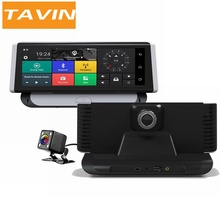 TAVIN Car DVRs 4G Android 5.1 8.0'' Inch Rearview Mirror Camera GPS WIFI 1080P Video Recorder Navigation Dash Cam ADAS Dual Lens