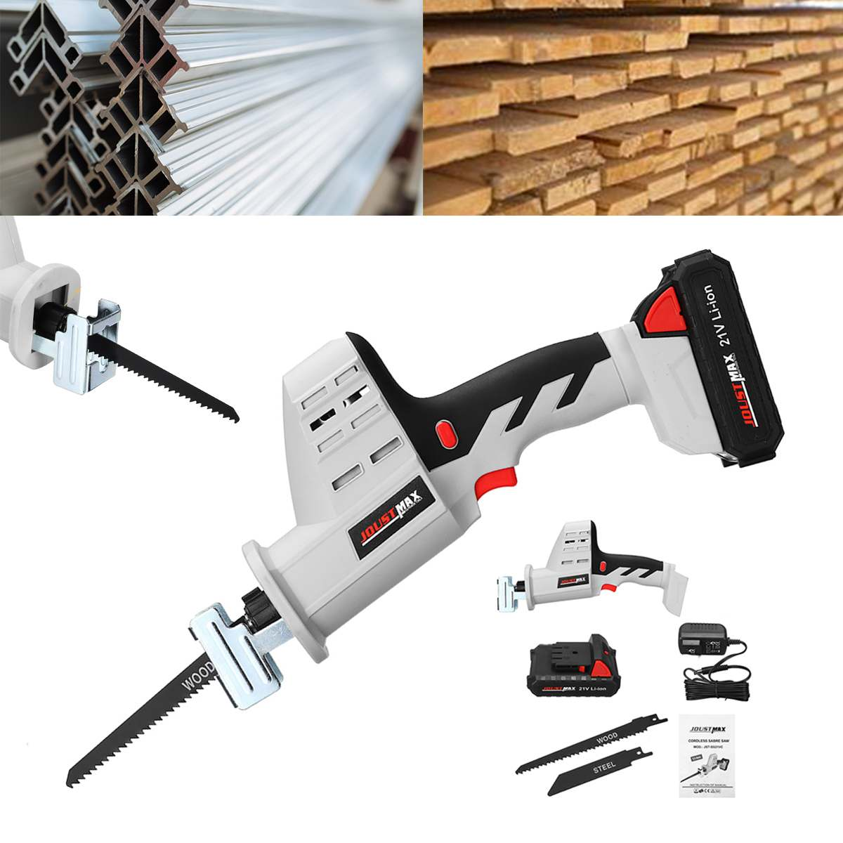 21V Cordless Reciprocating Saw Kit Portable Electric Saw Blades Metal Wood Angle Cutting Woodworking Tool with Li Ion Battery