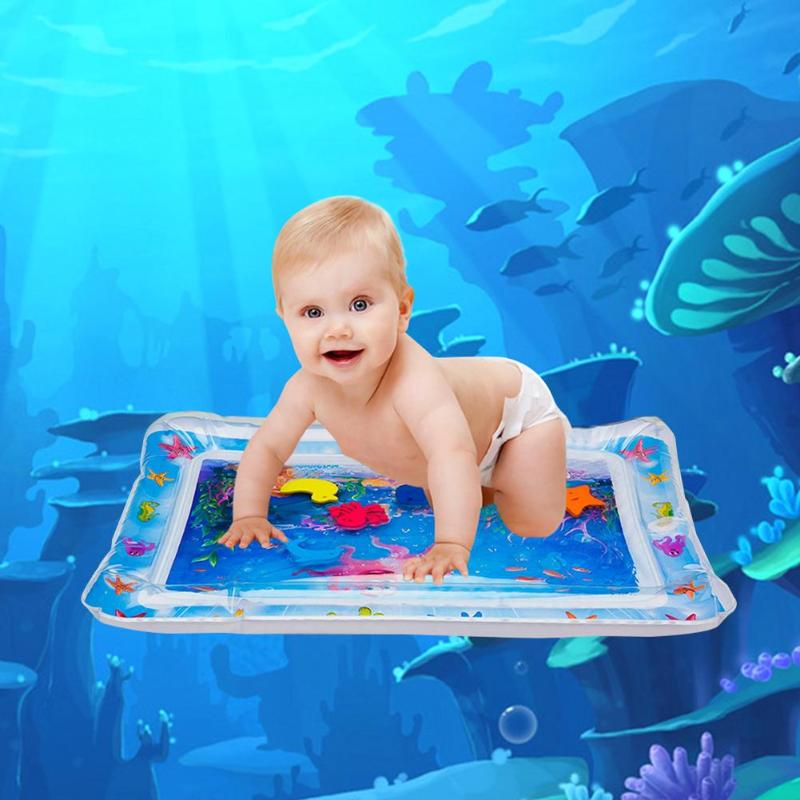 Cartoon Kids Water Play Mat Inflatable Thicken Infant Tummy Time Playmat Toddler Fun Activity Play Center Water Mat For Babies