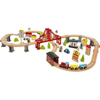 70 Pcs Wooden Train Set Learning Toy Kids Children Fun Road Crossing Track Railway Play Multicolor Free Shipping