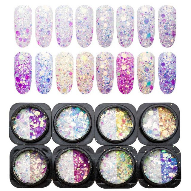 Mix Color Changing Glitter for Nails Art Glitter Sequins Chunky Nail Glitter Powder Decoration for Nail Design Spangles SF3046