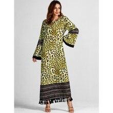 791eceb3f61 Women Long Dresses Winter Green Casual Muslim Boho Plus Size Flare Sleeve  Leopard Tassel Print Female