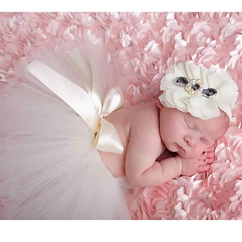 Pasgeboren Baby Studio Fotografie Props Kleding Set Baby Meisje Tutu DOEK baljurk Handgemaakte Haak Met Hoofddeksels