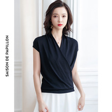 2019 summer new bright silk v-neck Knitted shirt women temperament light ripe ice knitting sweater mujer F9947