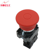 1NC Metallic Material Self Lock Emergency Stop Red Mushroom Push Button Switch Metallic Material  Red Sign 600V 10A China nc emergency stop no red green push button switch station 600v 10a