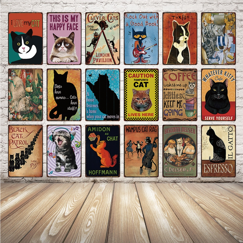 [ Kelly66 ] Cats I Love My Cat Metal Sign Tin Poster Home Decor Bar Wall Art Painting 20*30 CM Size Dy43