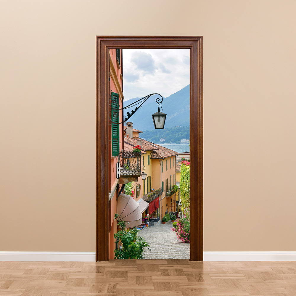 2019  Popular 3D Door Stickers Old Town Vinyl Wall Decal Door Mural Art Bedroom Doors Waterproof PVC Sticker DIY Home Decor