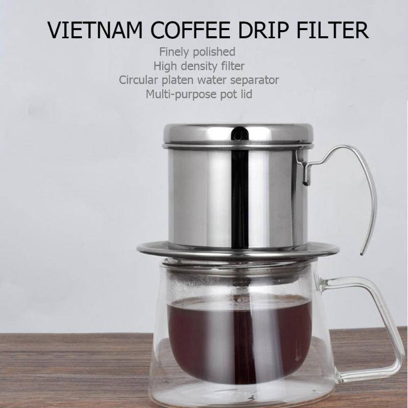 Portable Stainless Steel Vietnam Coffee Drip Filter Coffee Maker Dripper Pot Strainer Coffee Mug Cup Coffeeware