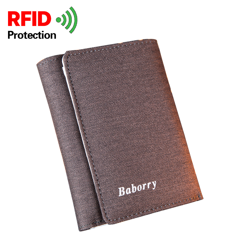 Casual Mens Designer Wallets Short Canvas RFID Wallet Trifold Vertical Solid Color Card Photo Holder Coin Pocket With Hasp