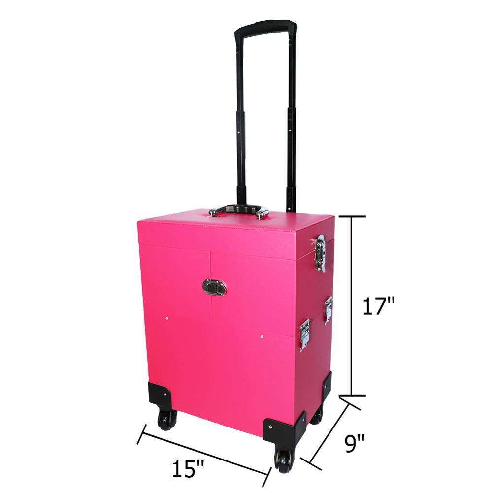 Boîte de tatouage de trousse de maquillage en aluminium professionnelle Portable AUGKUN avec miroir en PVC organisateur cosmétique de chariot à bijoux de voyage - 5