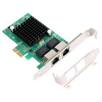 Gigabit Ethernet Pci-E Network Controller Card 10/100/1000Mbps  Rj45 X2 Dual 2 Port Pcie Server Network Interface Card Lan Ada