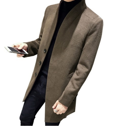 2018 Autumn Winter Men Wool Trench Coat Men's Medium-Long Trench Slim Fit Overcoat Male Coats Fashion Casual Jacket Outerwear