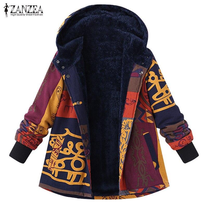 ZANZEA   Jackets   2018 Hooded Coat Chaqueta Mujer Jaqueta Feminina Manteau Femme Hiver Print Outerwear   Basic     Jacket   Plus Velvet 5XL