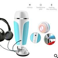 Man Handsfree Sucking Passion Cup Headphone Music Sensing Vibrating Aircraft Cup Male Orgasm Masturbator Men Masturbation Cup A3