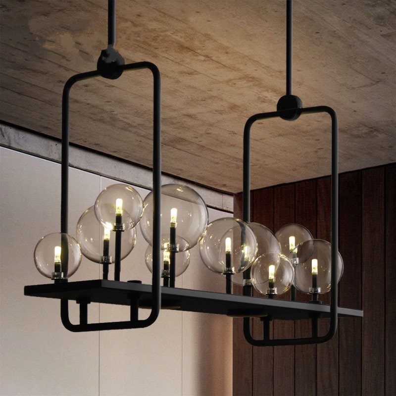 Nordic Art LED Pendant Lamps Industrial Restaurant Pendant Lights American Glass Ball Hanging Lamps Living Room Kitchen Fixtures