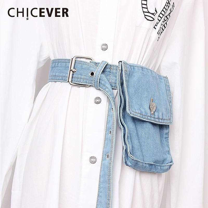 CHICEVER Summer Casual Patchwork Button Bag Denim Belt For Women Buckle Belts Fahsion 2019 Tide Korean