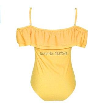 2019 Women Sexy Off Shoulder Ruffles Swimwear Solid Yellow Black One Piece Swimsuit Bandeau Bathing Suit Beachwear Bodysuit 1