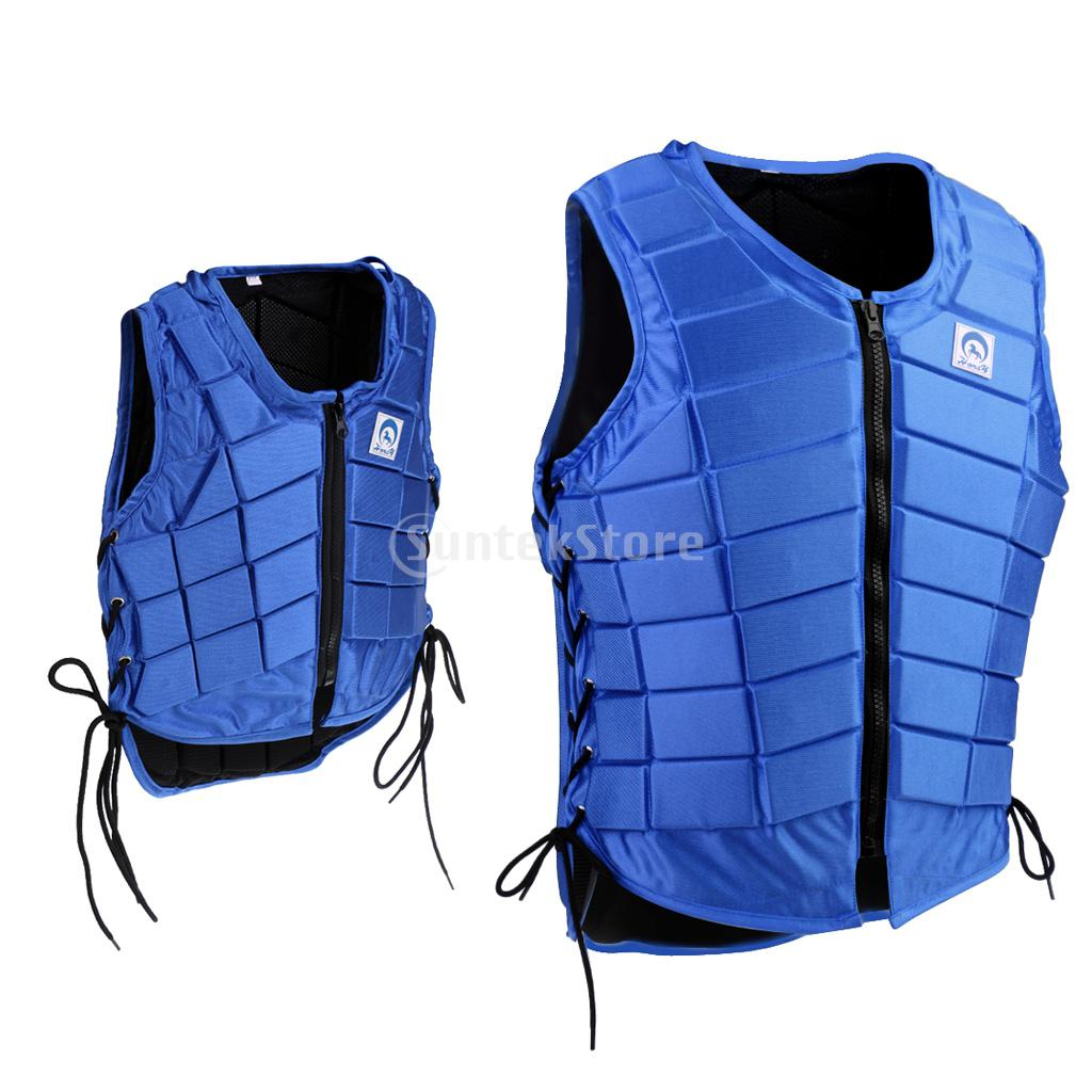 Kids (CS/CM/CL)/ Women (S/M)/ Men (L/XL/XXL) Royal Blue Horse Riding Waistcoat Safety Equestrian Eventer Body Protection Vest kiind of new blue women s xl geometric printed sheer cropped blouse $49 016