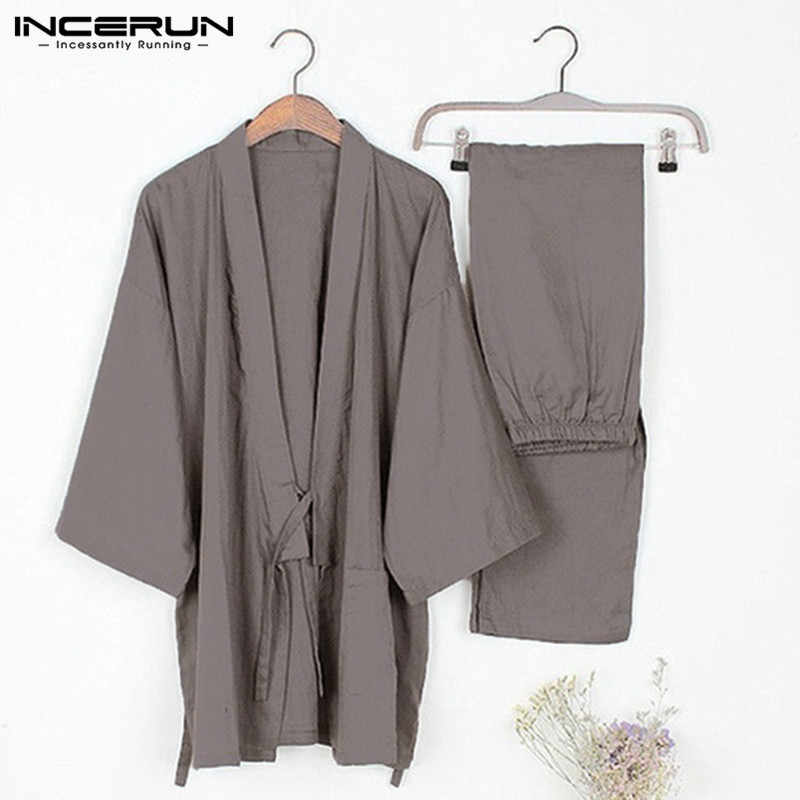 2d8427d71d 2018 Mens Traditional Kimono Pajamas Suits Robe Gown 2Pcs Set Lounge Bathrobe  Male Sleepwear Loose