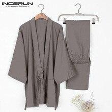 2020 Mens Traditional Kimono Pajamas Suits Robe Gown 2Pcs/Set Lounge Bathrobe Male Sleepwear Loose Cotton Japan Hombre