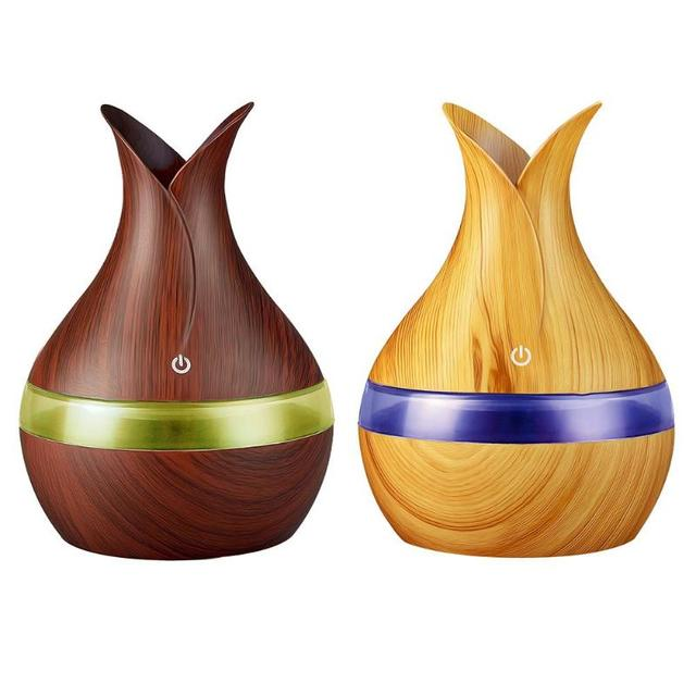 300mL USB Air Humidifier Wood Grain with LED light Aroma Essential Oil Diffuser Aromatherapy Mist Maker Air Purifier Humidifier