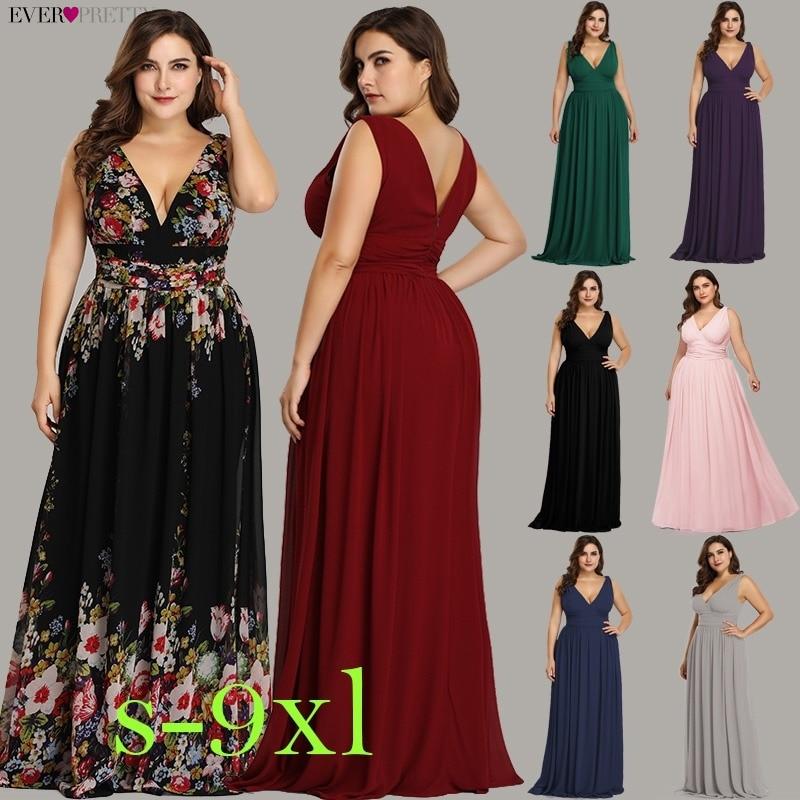 Plus Size Prom Dresses Long 2019 Ever Pretty Elegant Printed A line V neck Chiffon Sleeveless