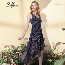 2019 New Spring Summer Causal Dresses Elegant A Line Sleeveless V Neck Irregular Women's Chiffon Printed Dress Party Dresses