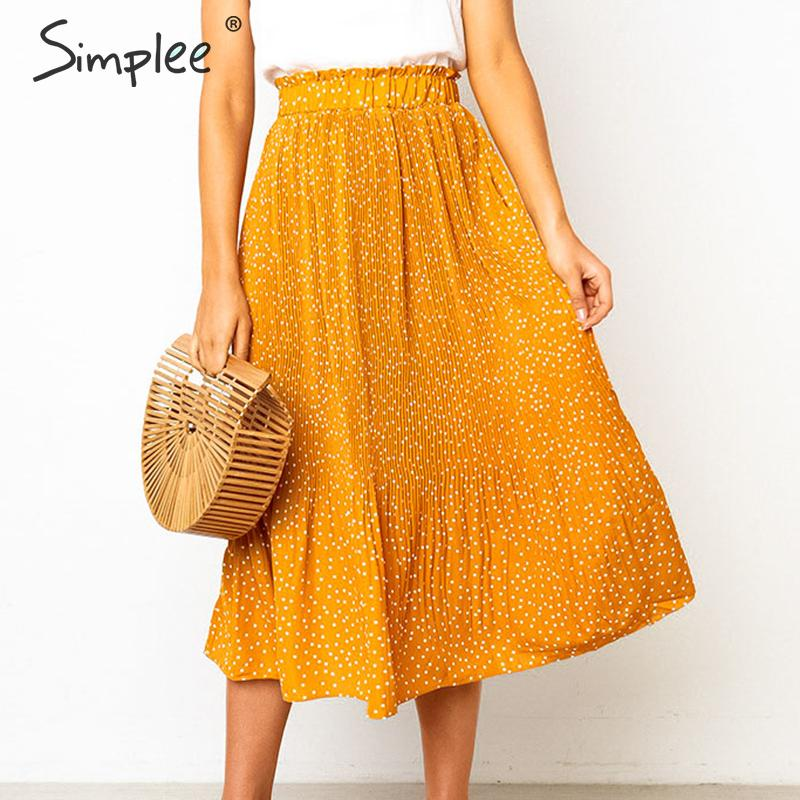 Simplee Bohemian Dot Print Women Skirt Summer Casual Beach Style Ladies Pleated Midi Skirt Elegant Elastic High Waist Skirt