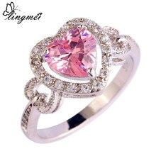 Lingmei Любовь Свадьба Помолвка розовый и белый CZ серебро 925 кольцо Размер 6 7 8 9 10 романтические красивые женские ювелирные изделия подарок