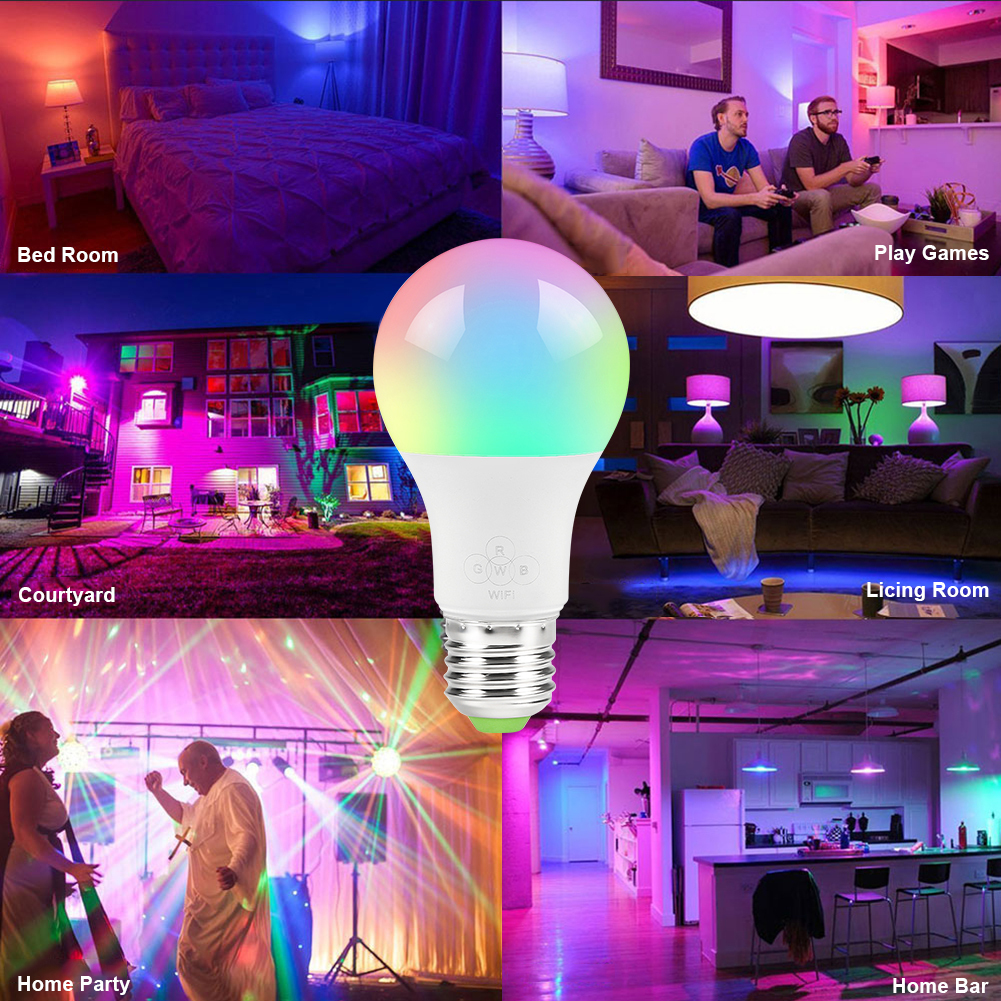 Smart WiFi Light Bulb 6 5W RGB Magic Light Bulb Lamp Wake Up Lights Compatible with Alexa and Google Assistant Dropshipping in LED Bulbs Tubes from Lights Lighting