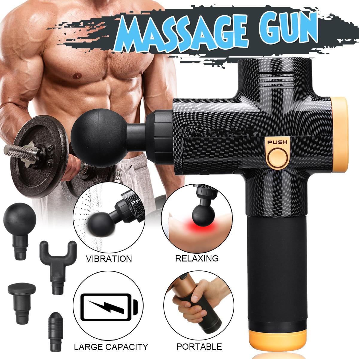 Pistolets de Massage de corps de thérapie électronique 3 fichiers 24 V pistolets de Massage de LED sans brosse Muscles du corps douleurs de soulagement relaxantes avec 4 têtes